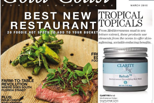 ClarityRx Rehab™ Mediterranean Detoxifying Mud Mask featured in Gold Coast Magazine