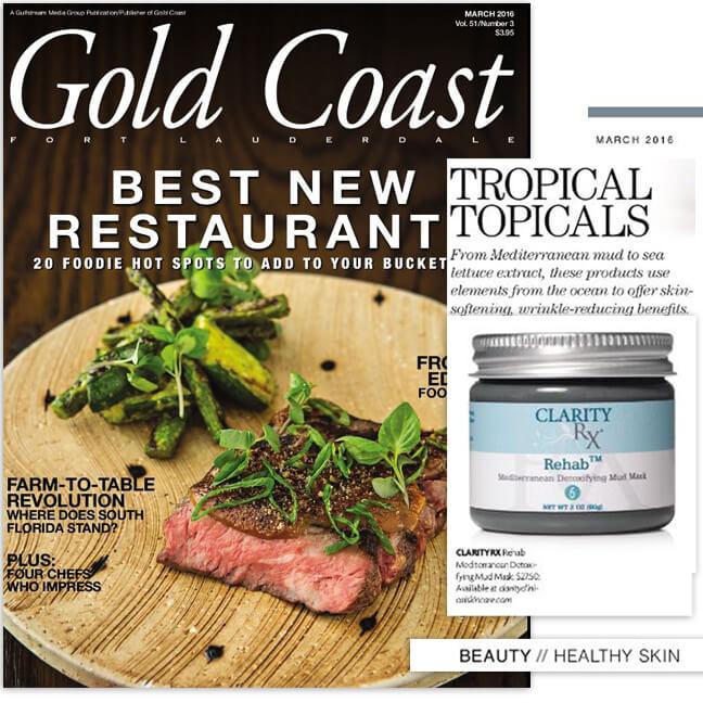 ClarityRx Rehab™ Mediterranean Detoxifying Mud Mask featured in Gold Coast Magazine
