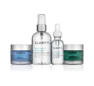 Clarity Rx Problem Moisture On The Go Kit jar, pump, dropper bottle, jar
