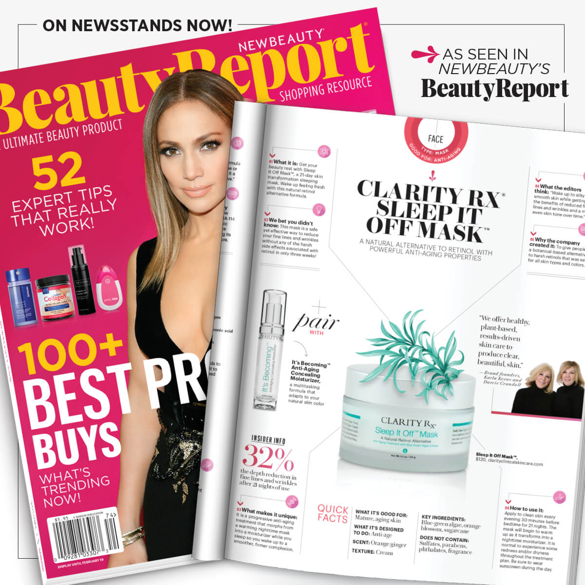 Beauty Report cover and article clipping