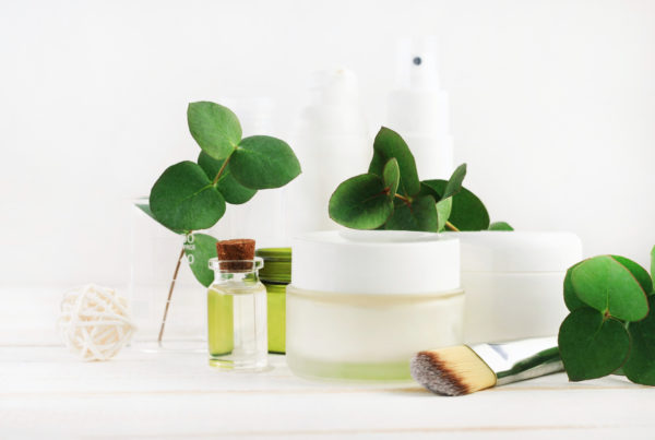 Skin care products with plant leaves