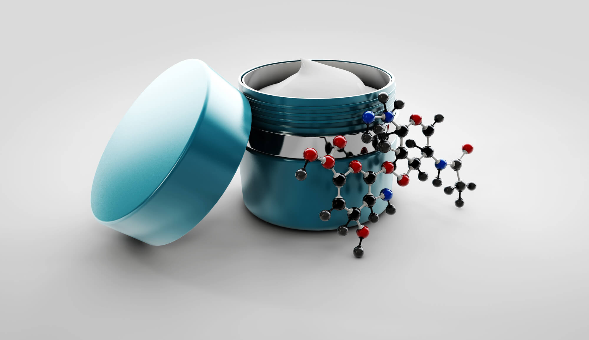 Product jar with molecule model