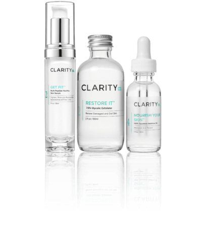 ClarityRx Turn Back Time kit pump, bottle, and dropper bottle